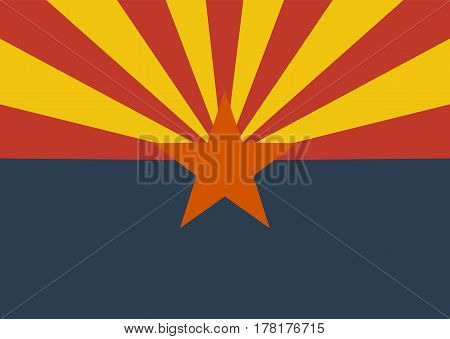 Flag of the US state of Arizona Official symbol of the state vector illustration