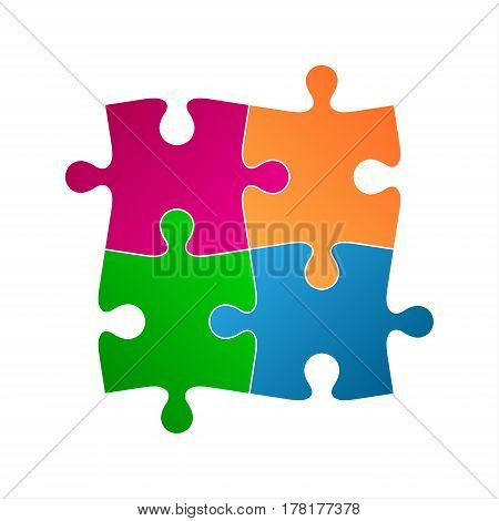 Four colored puzzle pieces abstract symbol icon isolated on a white background