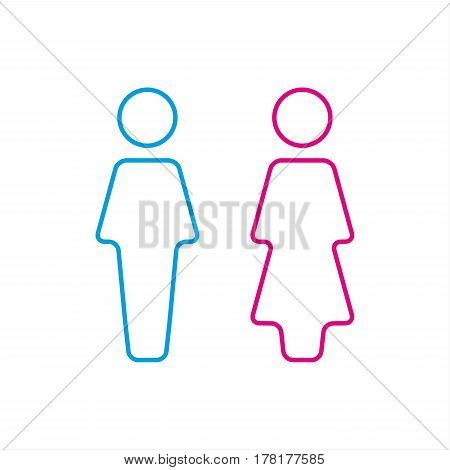 WC icon toilet icon men and women sign for restroom vector illustration isolated on a white background