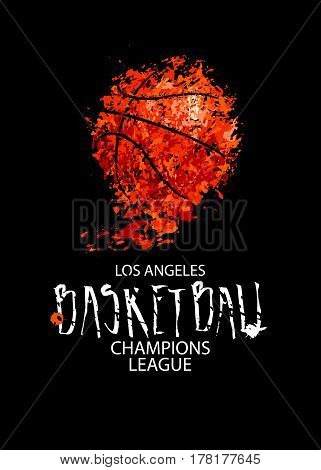 Vector drawing of a basketball on a black background design for basketball game grunge background. Template sports posters flyers.