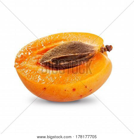 Half apricot with pit isolated on white background