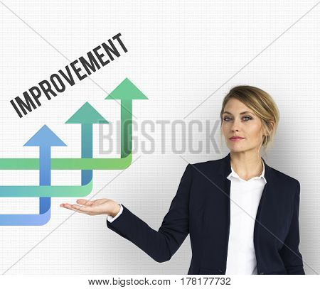 Businesswoman Explain Presentation about Business Strategy on the Whiteboard
