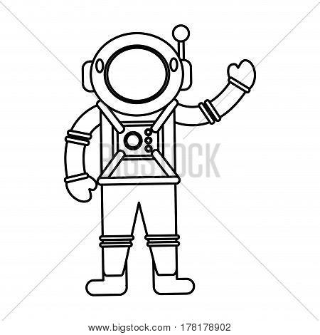 astronaut spacesuit helmet outline vector illustration eps 10
