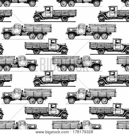 Seamless pattern with vintage truck. Vector illustration in old fashioned hand drawn style on white background.