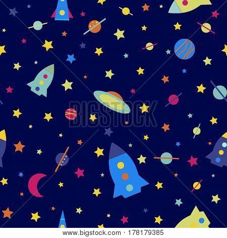 Space rocket child seamless pattern vector illustration