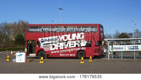SWINDON UK - MARCH 25 2017: Young driver training centre for under-age drivers (11-17 years) sited at Cribbs Causeway Bristol