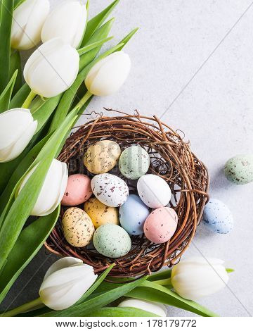 Beautiful white tulips with colorful quail eggs in nest on light gray stone background. Spring and Easter holiday concept with copy space.