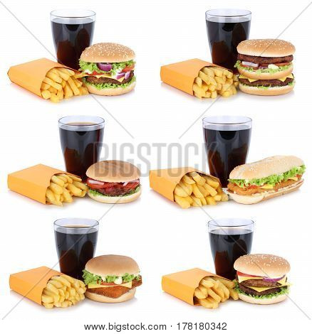 Hamburger Collection Set Cheeseburger And French Fries Menu Meal Combo Cola Drink Fast Food Isolated