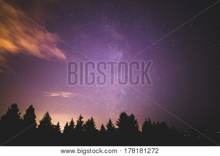 Milky Way and night sky over treetops in the forest. Purple and blue night sky.