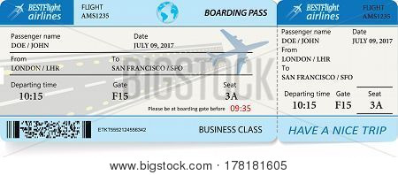 Blue template of boarding pass tickets. Concept of trip or travel. Vector illustration