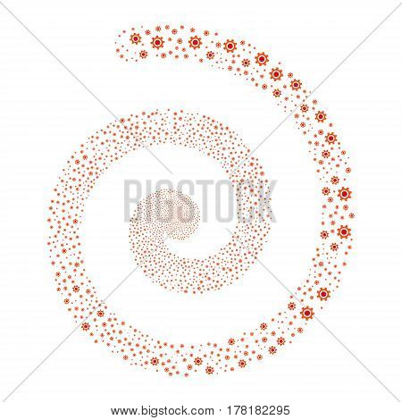 Cogwheel fireworks swirling spiral. Vector illustration style is flat bicolor intensive red and orange scattered symbols. Object helix organized from random icons.