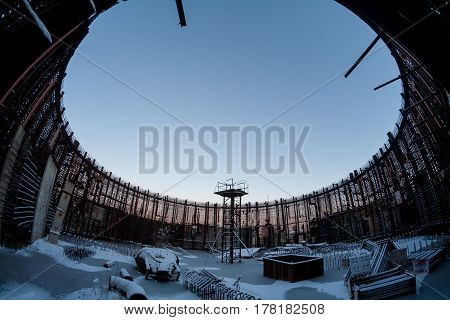 Winter photo of remnant of construction of the abandoned unfinished power unit of the Voronezh nuclear power plant