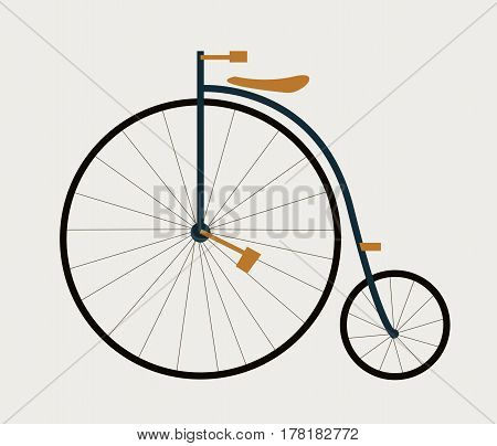 Old french high wheeler bicycle. Vector illustration flat style