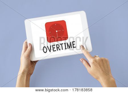 Overtime red analog alarm clock icon