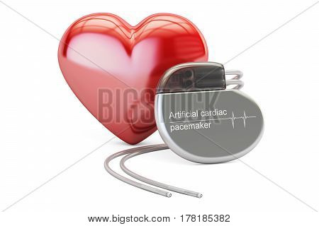 Artificial cardiac pacemaker with red heart 3D rendering isolated on white background