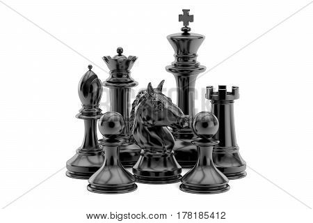 Black chess figures 3D rendering isolated on white background