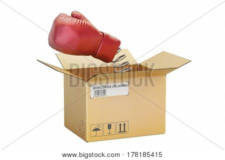 Boxing glove coming out from a cardboard box 3D rendering