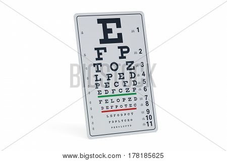 Eye Test Chart 3D rendering isolated on white background