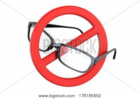 Eyeglasses with forbidden sign 3D rendering isolated on white background