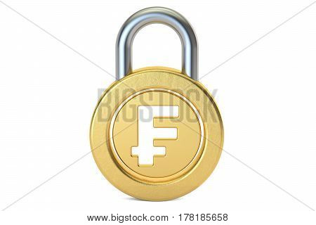 franc padlock 3D rendering isolated on white background
