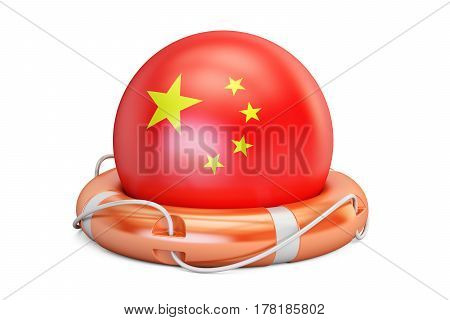 Lifebelt with China flag safe help and protect concept. 3D rendering