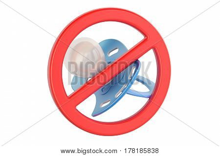 pacifier with prohibition sign 3D rendering isolated on white background