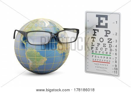 World Sight Day concept eyeglasses with Earth globe and eye test chart. 3D rendering