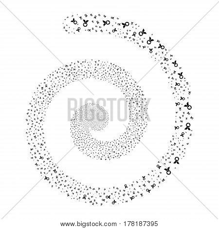 Care Award fireworks whirlpool spiral. Vector illustration style is flat black scattered symbols. Object whirlpool made from scattered pictograms.