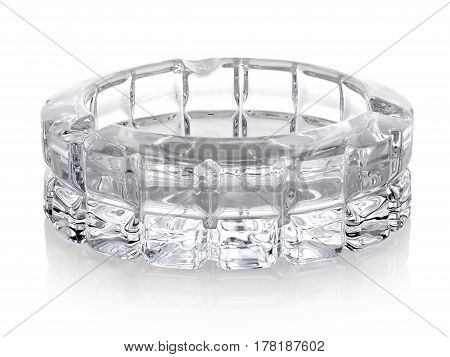 Beautiful glass ashtray isolated on a white background