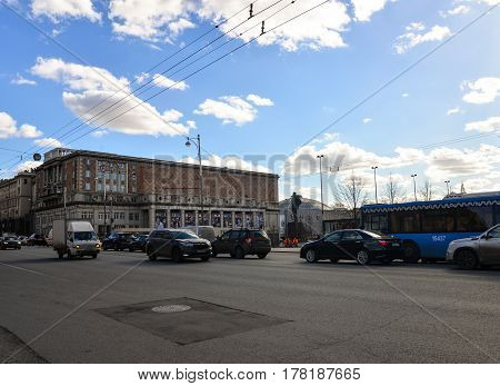 Moscow, Russia - March 23, 2017 - View on Tverskaya-Yamskaya street with buildings, monument of russian poet Mayakovsky, cars. Tchaikovsky Concert Hall.