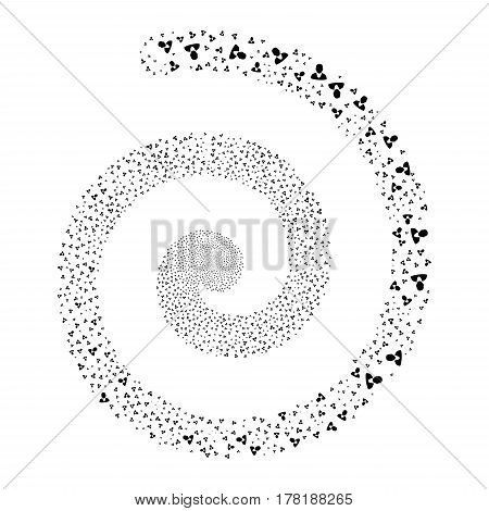 Client fireworks swirl spiral. Vector illustration style is flat black scattered symbols. Object swirl created from random design elements.