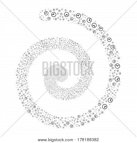 Clock fireworks swirl spiral. Vector illustration style is flat black scattered symbols. Object swirling organized from scattered pictograms.
