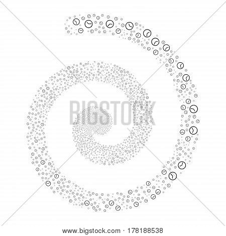 Clock fireworks swirling spiral. Vector illustration style is flat black scattered symbols. Object burst combined from scattered symbols.