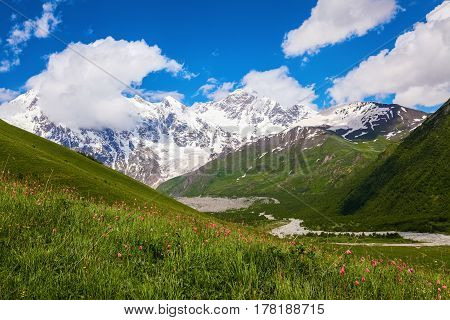 From the lawn with flowers opens a panoramic view of the broad river rocky mountains in the snow green meadows and cloudy sky. Upper Svaneti Georgia Europe. Happy lifestyle. Beautiful universe.