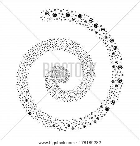 Cog fireworks burst spiral. Vector illustration style is flat black scattered symbols. Object twirl organized from scattered icons.