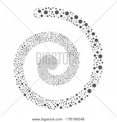 Cogwheel fireworks swirling spiral. Vector illustration style is flat black scattered symbols. Object twirl combined from random symbols.