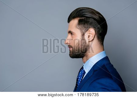 Side View Portrait Of Serious Fashionable Handsome Man In Blue Suit And Tie