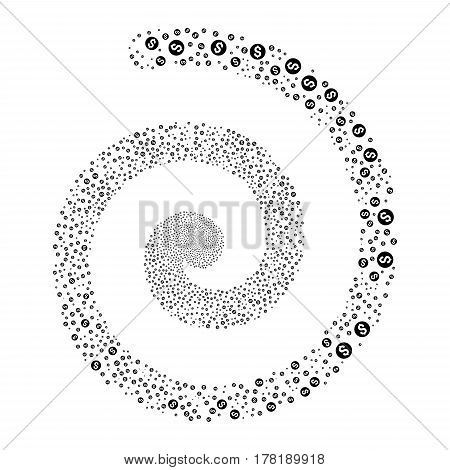 Coin fireworks swirling spiral. Vector illustration style is flat black scattered symbols. Object helix organized from scattered pictograms.