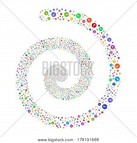 Apply fireworks vortex spiral. Vector illustration style is flat bright multicolored scattered symbols. Object swirl organized from scattered design elements.