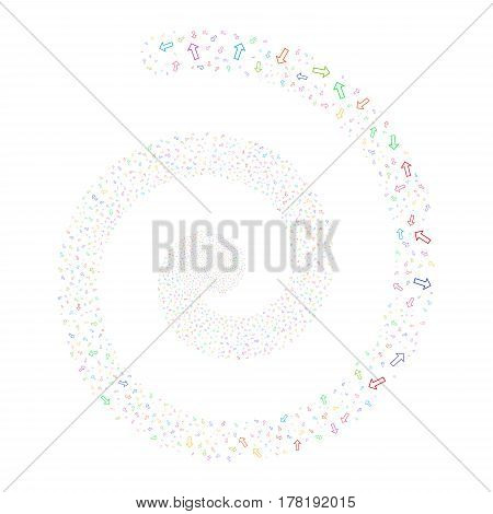 Arrow fireworks burst spiral. Vector illustration style is flat bright multicolored scattered symbols. Object whirl organized from scattered pictograms.