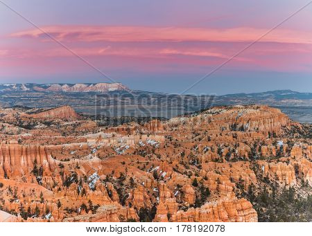 Pink Clouds at Sunset Over Bryce Canyon in early spring