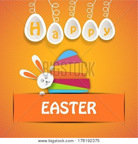 Vector poster of Happy Easter with paper egg from strips of different colors rabbit head white legs eggs hanging on a rope and text insert in yellow pocket on the gradient yellow background.