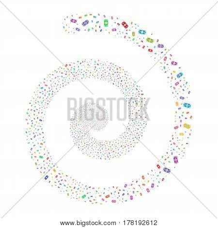 Banknote fireworks swirling spiral. Vector illustration style is flat bright multicolored scattered symbols. Object whirl constructed from scattered pictographs.