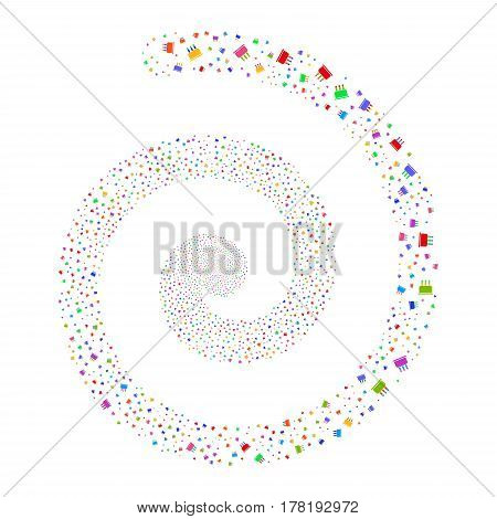 Birthday Cake fireworks burst spiral. Vector illustration style is flat bright multicolored scattered symbols. Object twirl combined from scattered pictographs.