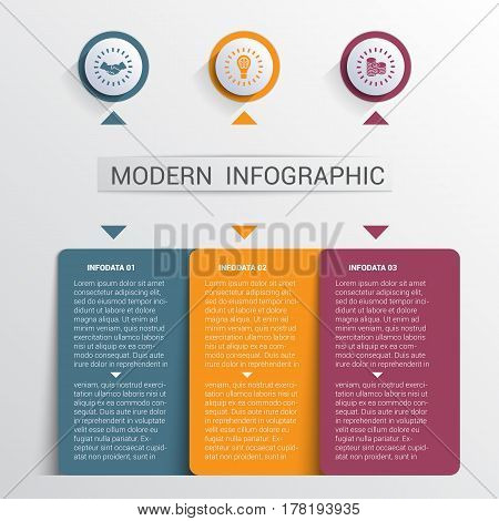 Infographics design template color buttons and numbered 3 plates shapes modern website template.