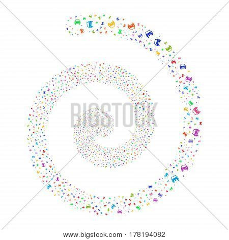 Car fireworks vortex spiral. Vector illustration style is flat bright multicolored scattered symbols. Object whirl organized from scattered icons.