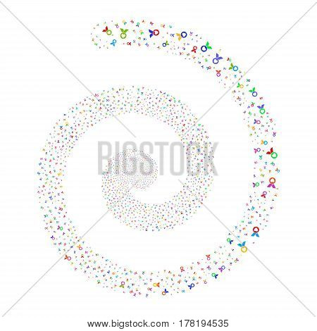 Care Award fireworks burst spiral. Vector illustration style is flat bright multicolored scattered symbols. Object burst organized from scattered symbols.