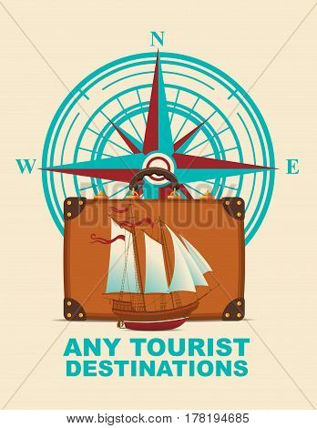 Vector banner with a suitcase sailboat on a tourist theme against the backdrop of the compass Windrose