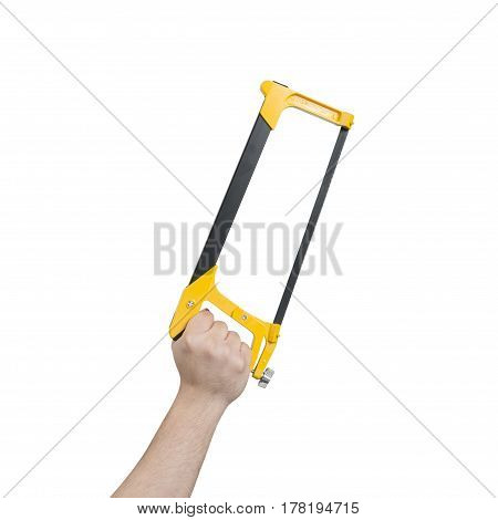 Hand Holding A Hacksaw With Clipping Path