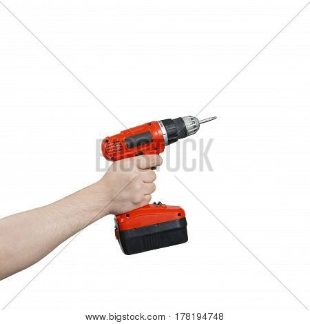 Hand Holding A Cordless Electric Screwdriver With Clipping Path